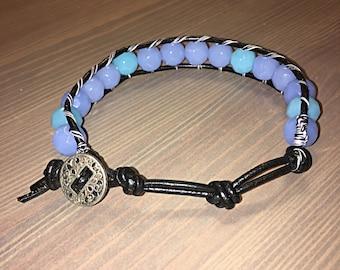 Lilac and Sky Blue Wrap Bracelet