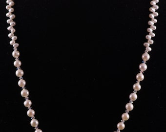 White Freshwater Cultured Pearl Necklace with Swarovski Crystals