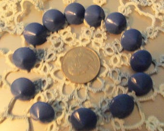 Lot of 13 Cone Shaped Blue China Buttons  Brass Shanks