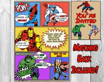 MARVEL AVENGERS COMIC Book Birthday Party Invitations