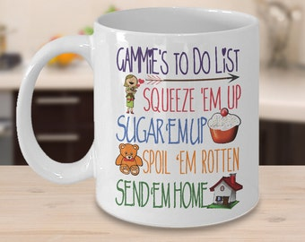 Cool Gammie Mug - Gammie's To Do List  - Funny Gift Mug For Gammie, Great Birthday Gift, Gammie Present Birth Annoucement