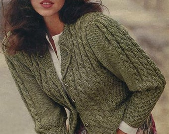 Hand Knit women's coat aran, Ladies cardigan, Knitted cardigan, Women cardigan,  Hand knitted sweater, Hand knitting, Gift for her