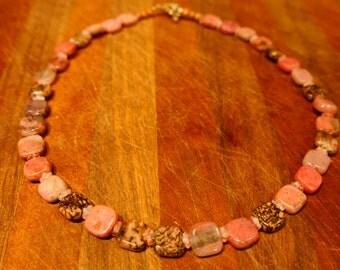 Natural Rhodonite Gemstone Necklace