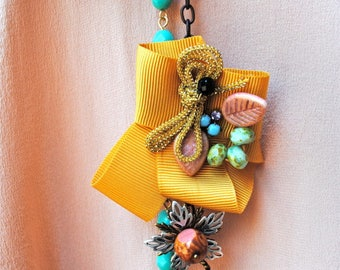 Ribbon, vintage style necklace, long, turquoise necklace.