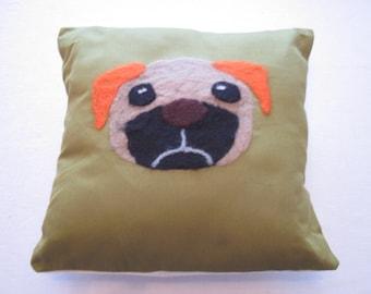 Pug Needle Felted Cushion
