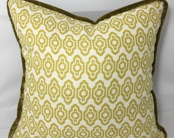 "17"" SQ. Chartreuse green geometric print fabric pillow COVER  with a gray velvet welt"
