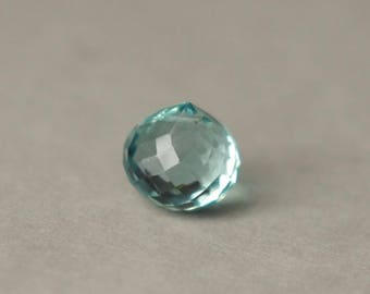 Aqua Quartz Briolette, Aquamarine Glass Bead, Faceted Briolette Bead, Teardrop Briolette Pendant