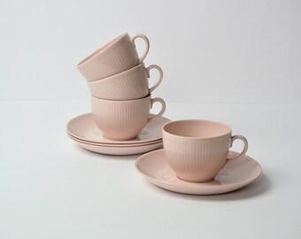ARABIA Finland 'Sointu' x5 Kaj Franck coffee cups and saucers / pastel pink / Collectible / Scandinavian design classic , Mid century Modern