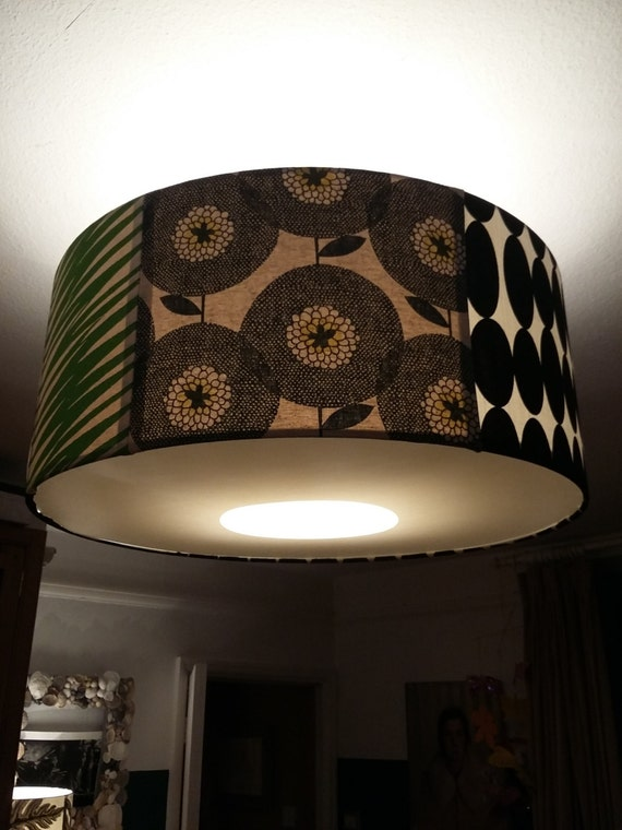 Geo print and floral, black and green lampshade