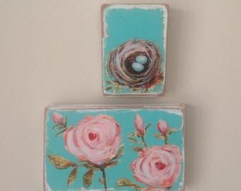 Pair of sweet Mini paintings on wood original Art birds nest flowers Spring