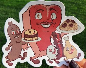 Let's Eat Meat! - Vinyl Sticker by Nouar