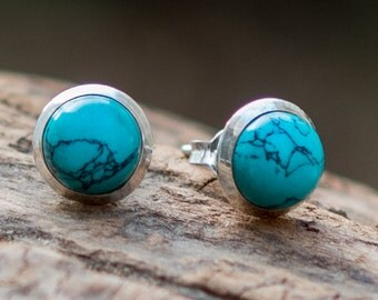 Turquoise Stud Earrings // Turquoise Ear Studs // Sterling Silver Stud Earrings // Gemstone Earrings // Turquoise Post Earrings