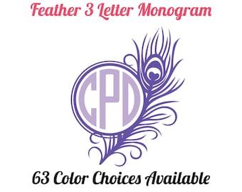 Peacock Monogram Decal / 2-Color Vinyl Monogram Peacock Feather Decal / Peacock Car Decal / Yeti / Tumbler / School Supplies / Sticker