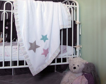 Baby blanket with stars - White baby blanket - White fleece blanket