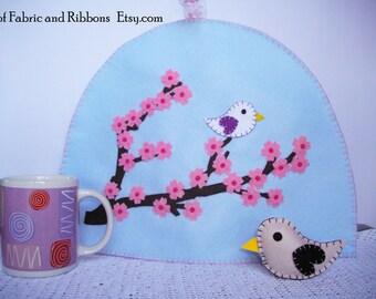 Tea cosy. Tea pot warmer. Tea accessories. Tea lovers gift. Mothers gifts. Floral tea cosy. Felt tea cosy. Sakura tea cosy.