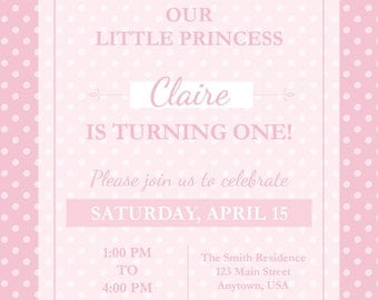 Pink Princess Birthday Invitation