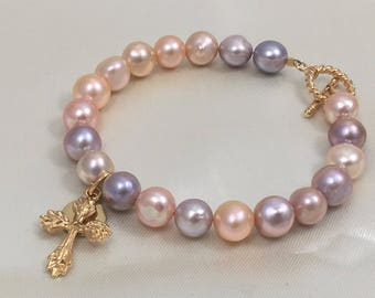 Fresh Water Pearl Bracelet, Religious Charm Bracelet, Catholic Bracelet, Religious Jewelry