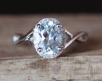 Halo Diamonds Aquamarine Engagement Ring Claw Prongs Ring VS 6*8mm Oval Cut Aquamarine Ring Gmestone Ring 14K White Gold Ring Birdal Ring