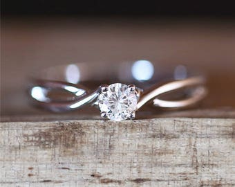 Elegant C&C Brilliant Moissanite Engagement Ring 3.5mm Forever Classic Round Cut Moissanite Ring Stackable Ring 14K White Gold Bridal Ring