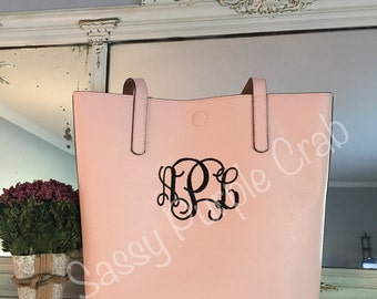 Faux leather monogram tote