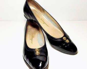 Vintage SALVATORE FERRAGAMO Women Oxford Flat Shoes Classic Black (Size 9  A2~Narrow)