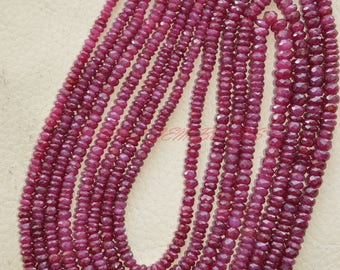 18 Inches Strand, Natural Longido Ruby Rondelles, Longido Ruby Faceted Rondelle Beads, 3-4.50 MM, Loose Gemstone Beads, Ruby Beads