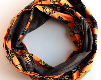 African Infinity Jersey Scarf, Orange Black and Grey Cowl, Ankara Infinity Scarf, Made in NC