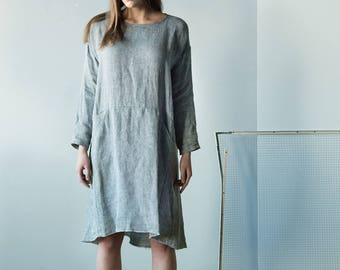 NEW Loose grey long-sleeved dress with pockets made from Lithuanian linen