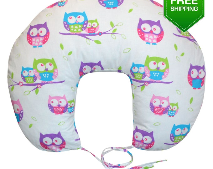 Nursing Pillow Pink Owls, Breastfeeding Pillow, back support pillow, new moms gift, breastfeeding, new baby gift, baby Accessories, newborn