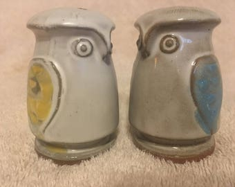 Adorable Clay Owl Salt and Pepper Shakers