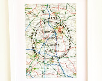 Wedding Location Map Picture, Personalised Wedding Details Picture, Framed Print, Wedding Gift Personalised Map, Wedding Location