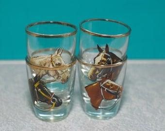Vintage Shot Glasses | Horse Shot Glasses, Set of 4,  Equestrian Shooter Glasses, Western Barware, Western Shot Glasses
