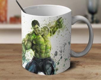 The Hulk Coffee Mug, Avengers Coffee Mug, Watercolor Mug, Magic Coffee Mug, Color Changing Mug,