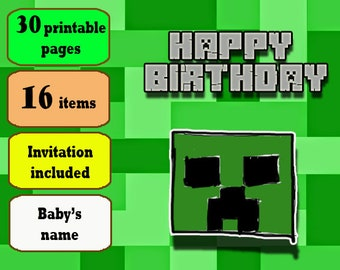 Mine Themed Birthday Party Printable Set,  Personalized with Invitation