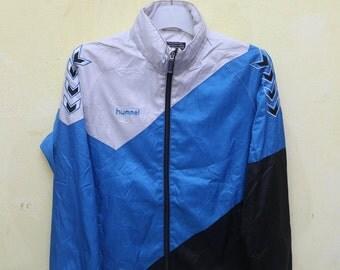 Vintage HUMMEL Sportswear Blue Windbreaker Jacket Size S