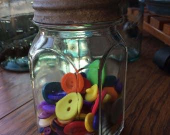Vintage Farmhouse Hazel Atlas Pint Jar Mason Canning Zinc Lid Colorful Bright Vintage Buttons Old Ball Jars Sewing Notions Shabby Chic Decor