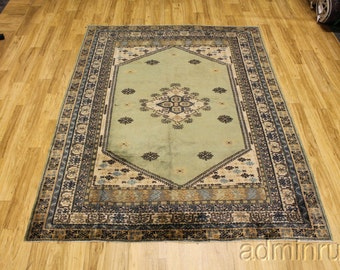 Stunning Sage Green Kazak Turkish Persian Oriental Area Rug Carpet 6'7x8'7