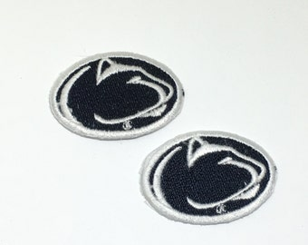 2 small Penn State embroidered iron on patches Nittney Lions patches PSU