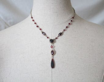 Vintage red glass drop pendant necklace | Red glass lariat Y necklace