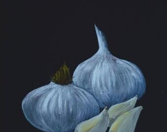 GRARLIC  paintings of garlic  kitchen decor  garlic paintings  art for kitchens