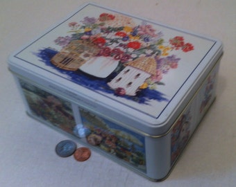 Vintage Metal Tin Can Canister, For the Birds, Made in USA, Helen Paul Watercolors, 8 x 6 x 3 1/2 inches