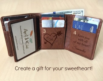 Valentine's Gift for him - Trifold Men's Wallet - Personalized Men's Wallet - Gift for husband Valentine - 3rd Anniversary Toffee ** 7133
