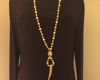 Antler necklace with jasper beads