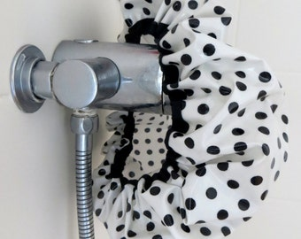 Black and white spotty shower cap