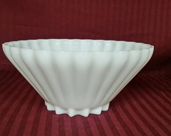 Large milk glass bowl. Scalloped top.