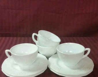 Milk glass, Colony Harvest, cups and saucers. Set of 4.