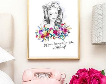 watercolor print, wildflower, free spirit, wall art, feminine, nursery decor, print, room decor, girls room decor, teenage bedroom