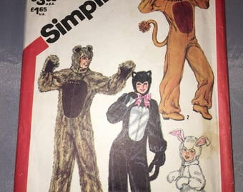 5739 Simplicity Children's  Animal Costumes Pattern Size 2-4 Vintage