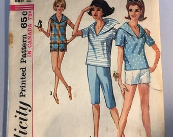 5396 Simplicity Vintage Pattern Ladies' Sailor Shirt and Shorts
