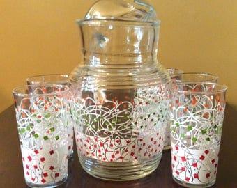 Mid Century Hazel Ware Glass Pitcher and Drinking Set - Confetti Pattern - Five Glasses